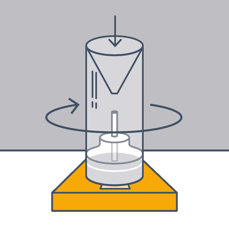 3. Zylinder wieder über das Gefäss stülpen und vorsichtig alle vier Laschen in die Halterung eindrehen.